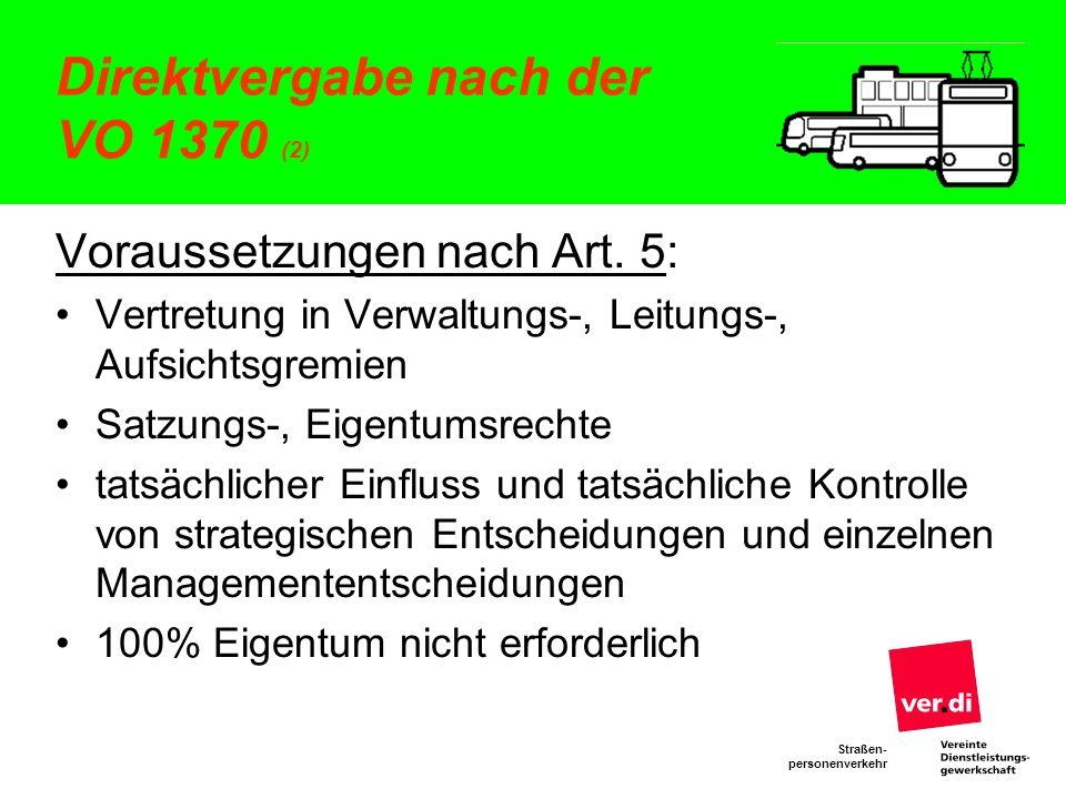Direktvergabe nach der VO 1370 (2)