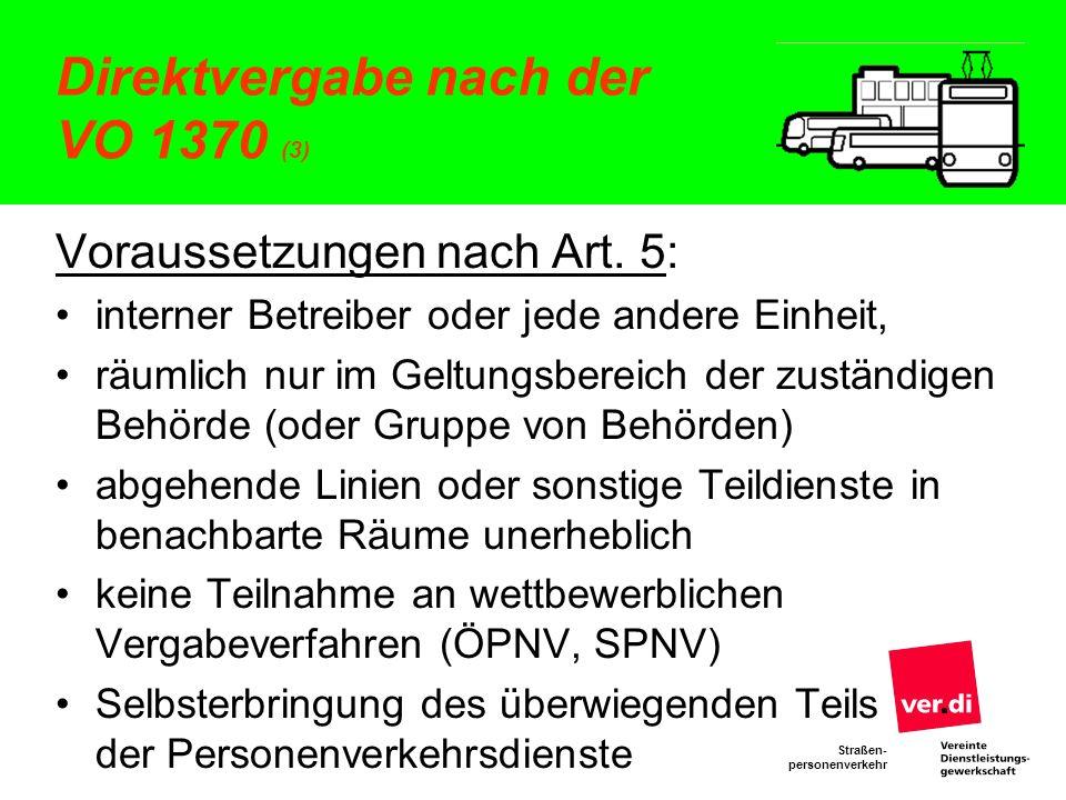Direktvergabe nach der VO 1370 (3)