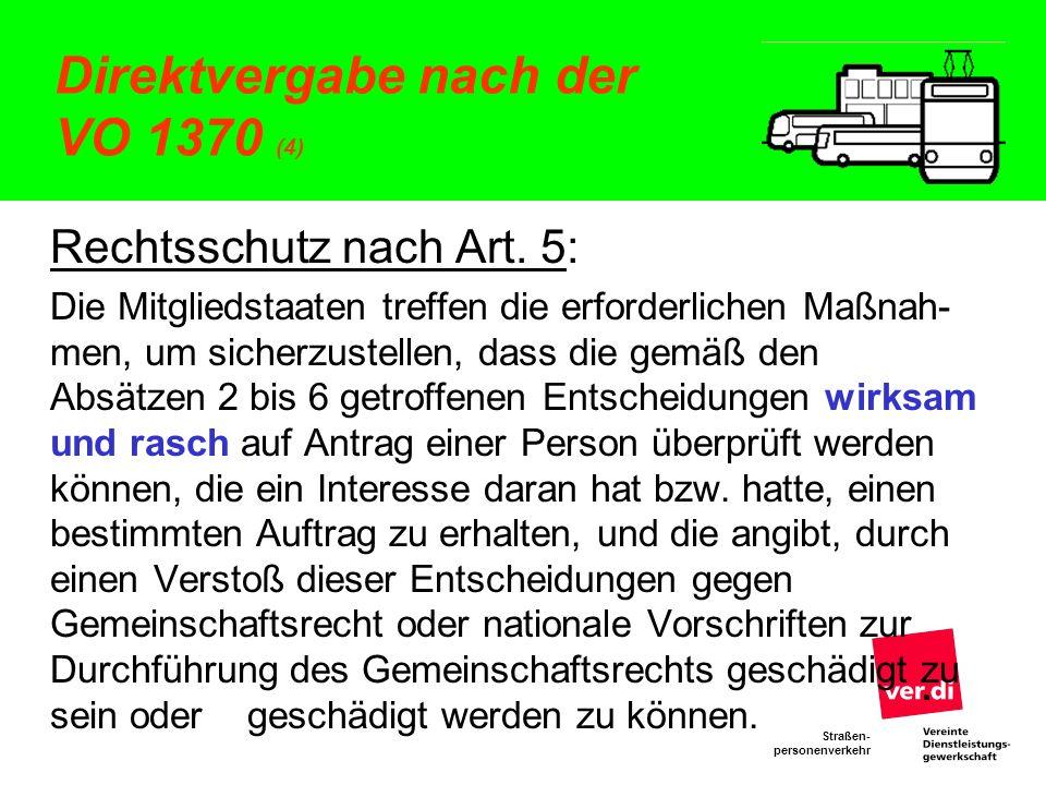 Direktvergabe nach der VO 1370 (4)