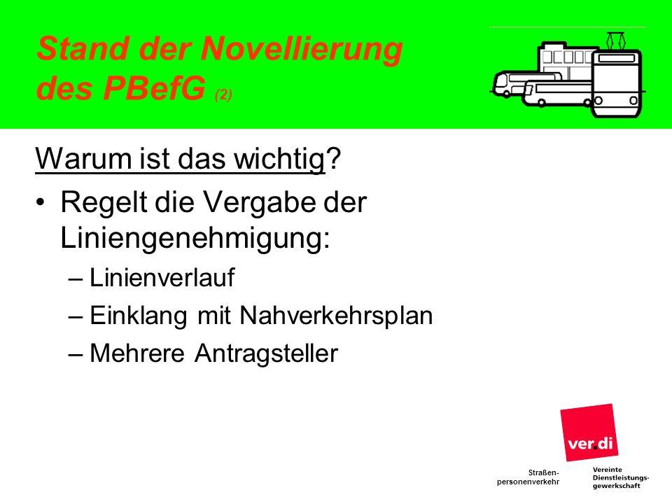 Stand der Novellierung des PBefG (2)