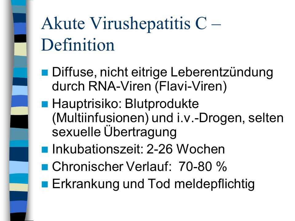 Akute Virushepatitis C – Definition