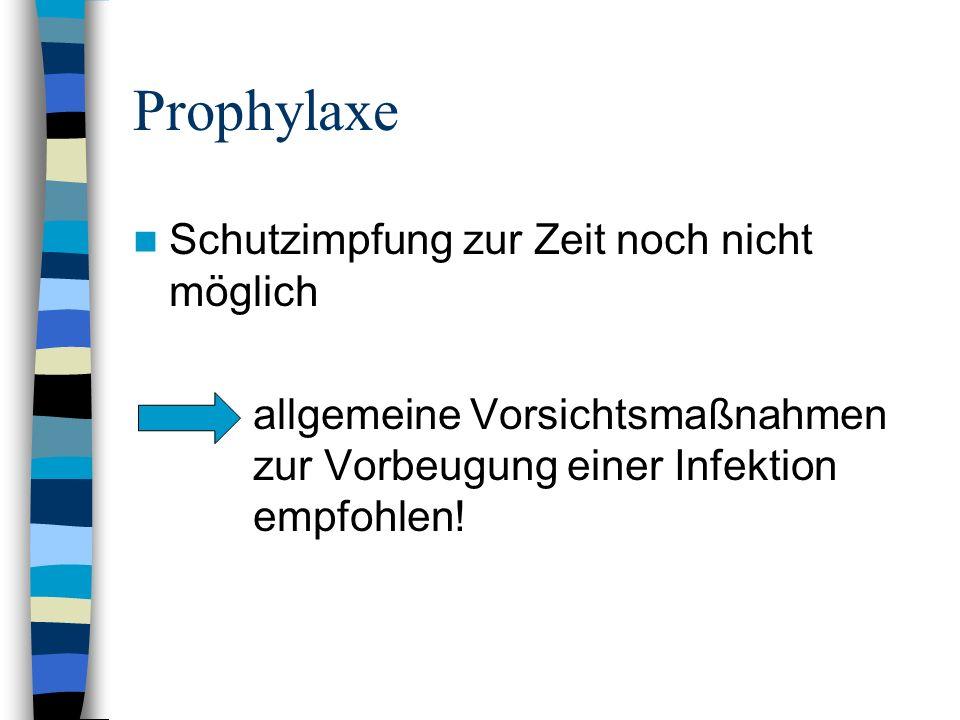 Prophylaxe Schutzimpfung zur Zeit noch nicht möglich