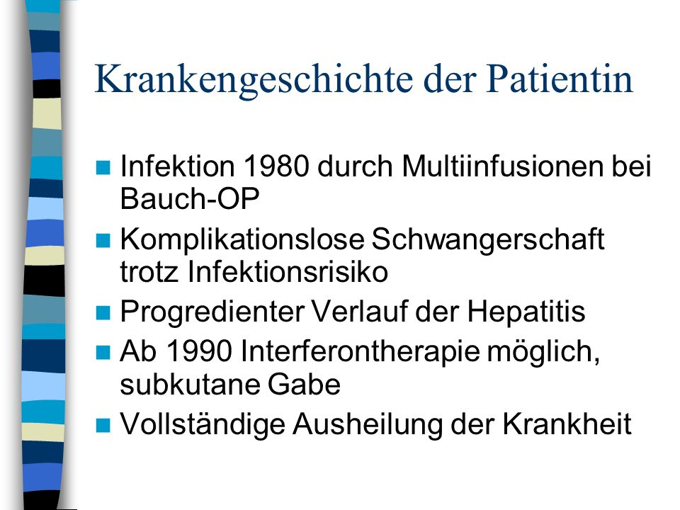 Krankengeschichte der Patientin