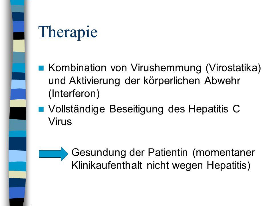 TherapieKombination von Virushemmung (Virostatika) und Aktivierung der körperlichen Abwehr (Interferon)