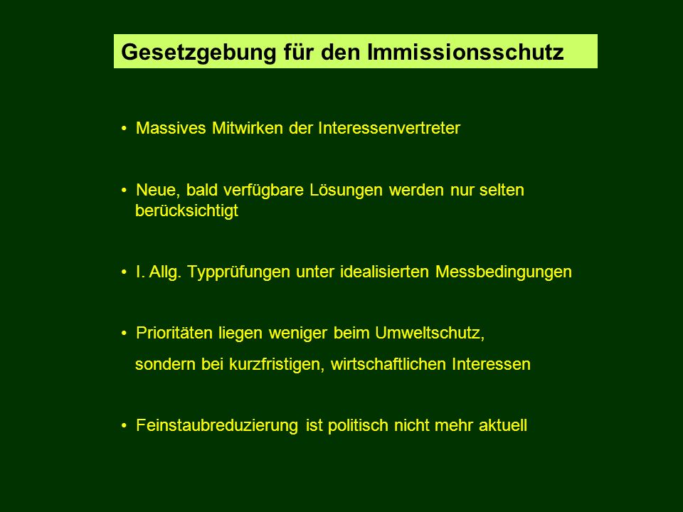 Gesetzgebung für den Immissionsschutz