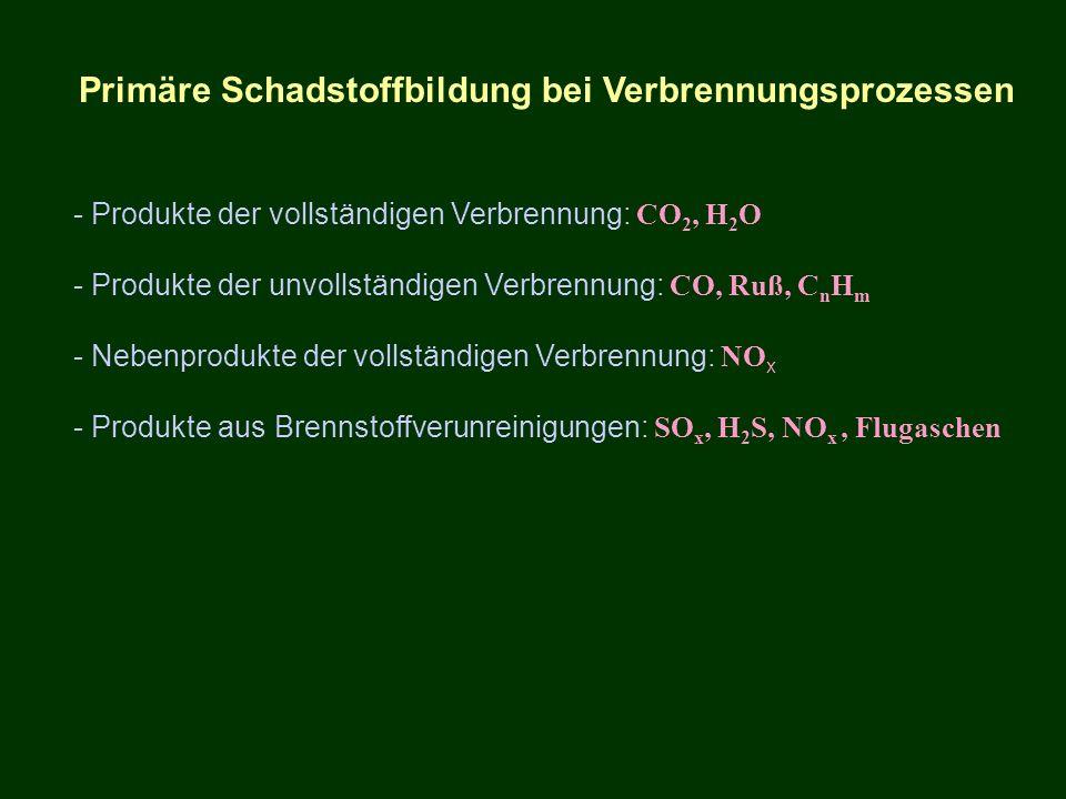 Primäre Schadstoffbildung bei Verbrennungsprozessen