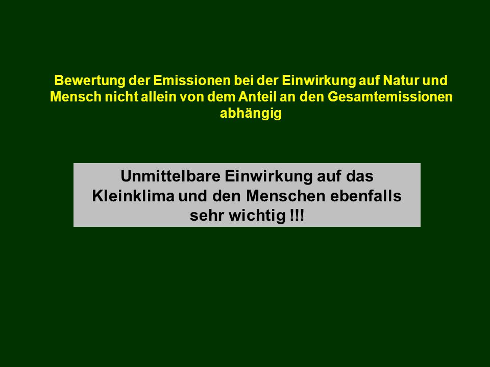 Bewertung der Emissionen bei der Einwirkung auf Natur und Mensch nicht allein von dem Anteil an den Gesamtemissionen abhängig