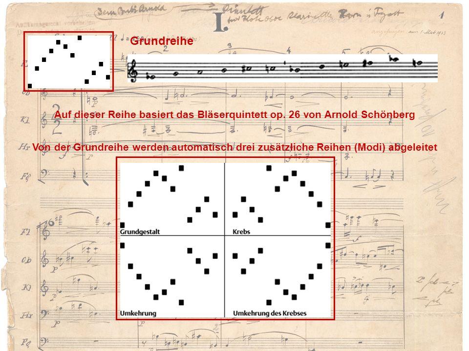 Grundreihe Auf dieser Reihe basiert das Bläserquintett op. 26 von Arnold Schönberg.