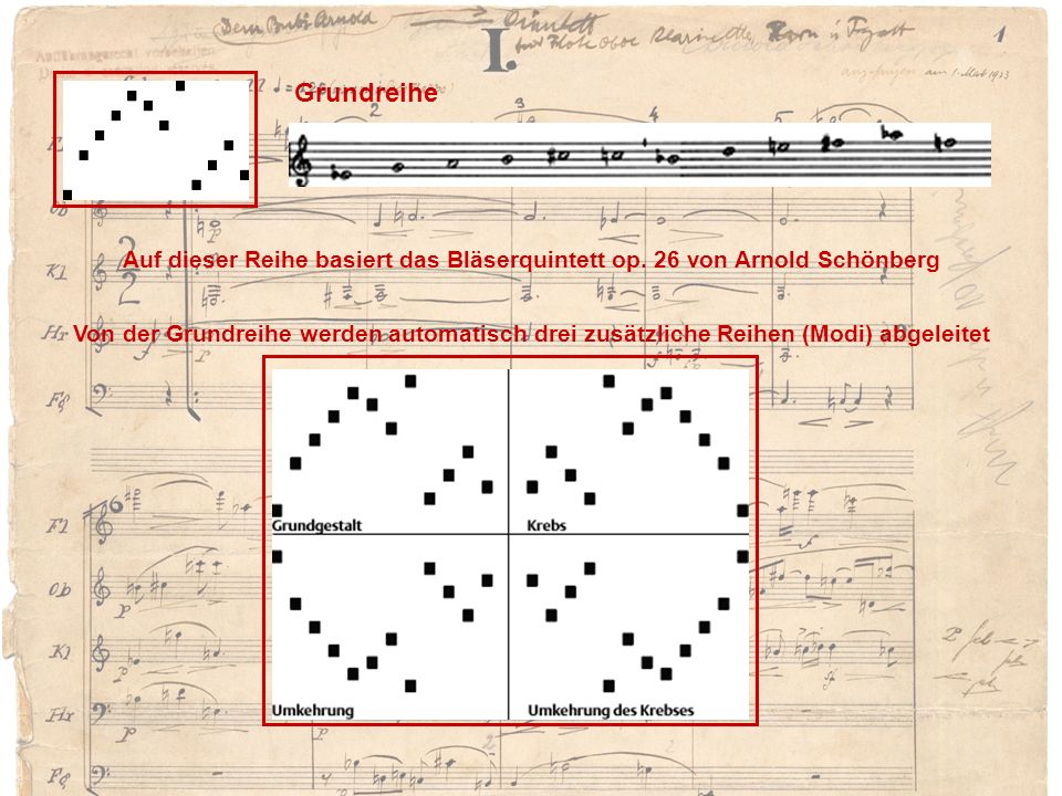 GrundreiheAuf dieser Reihe basiert das Bläserquintett op. 26 von Arnold Schönberg.