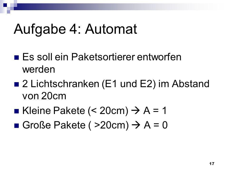 Aufgabe 4: Automat Es soll ein Paketsortierer entworfen werden