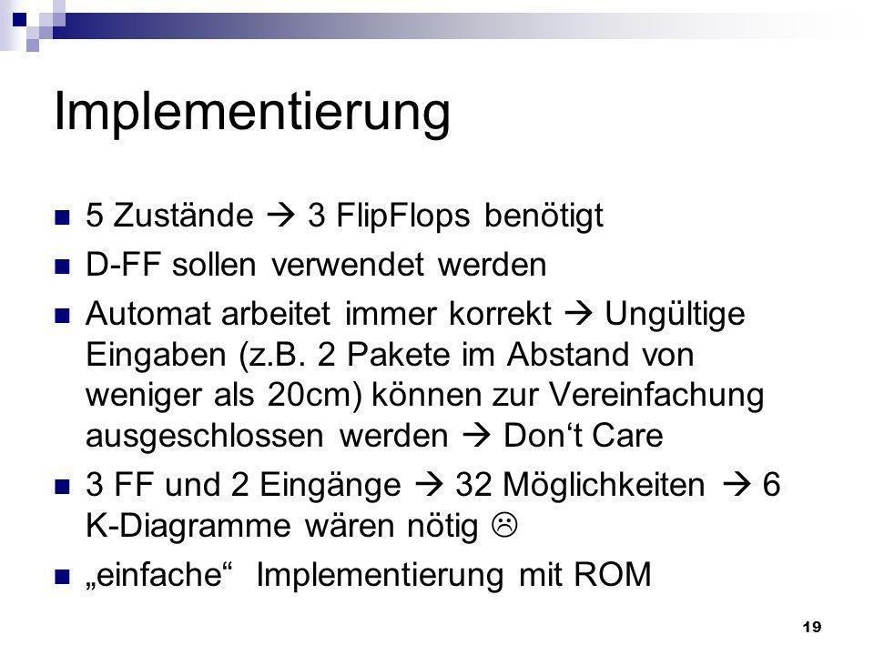 Implementierung 5 Zustände  3 FlipFlops benötigt