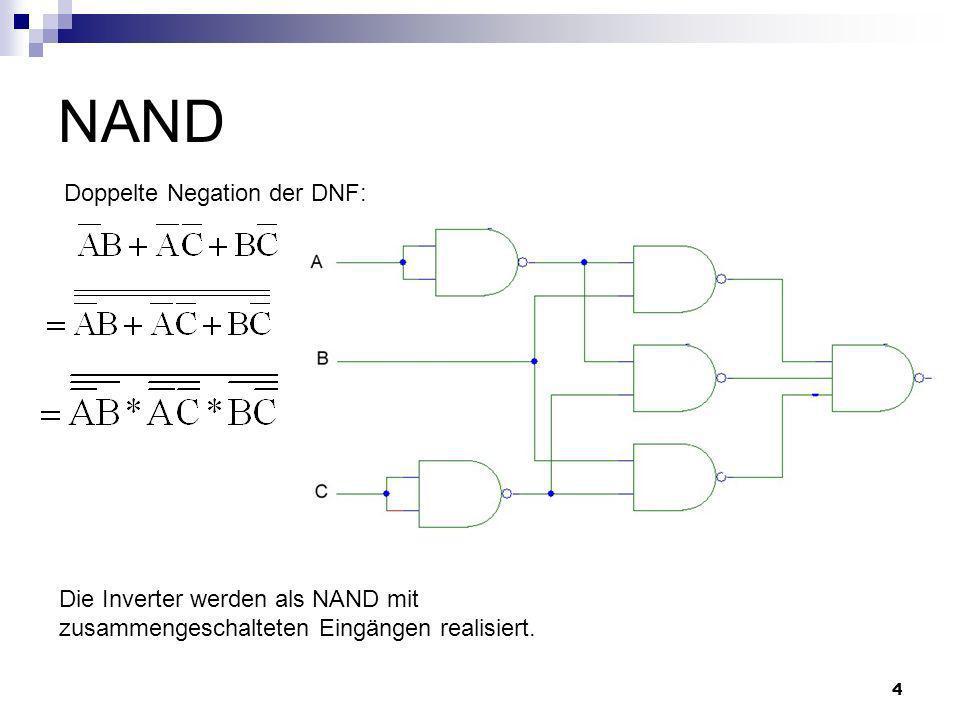 NAND Doppelte Negation der DNF: Die Inverter werden als NAND mit