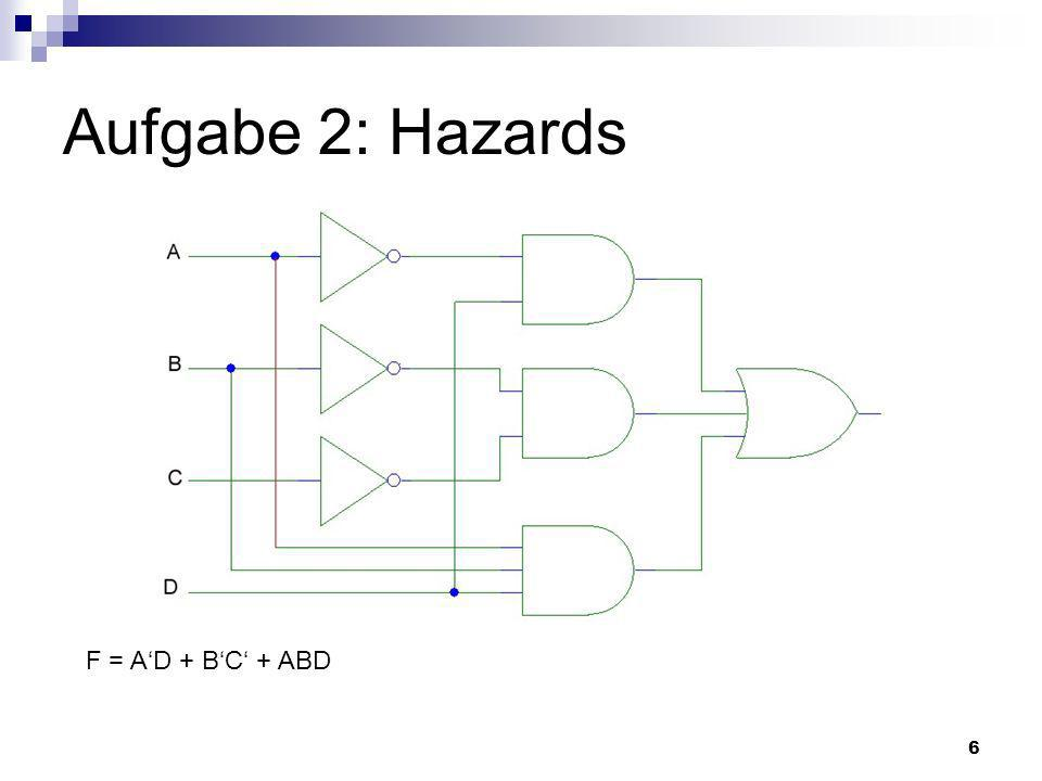 Aufgabe 2: Hazards F = A'D + B'C' + ABD