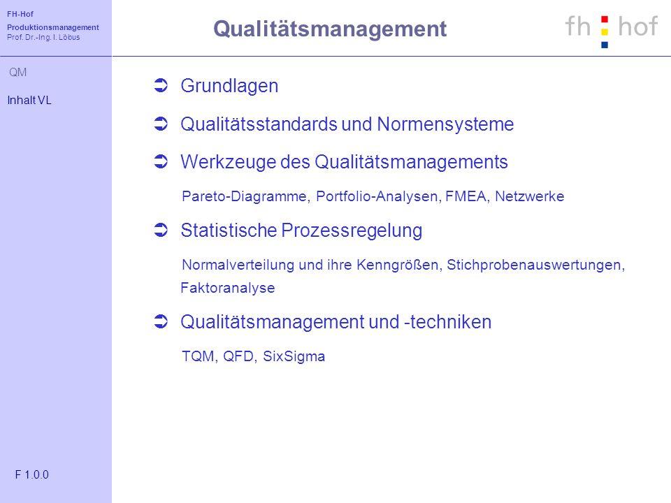 Qualitätsmanagement Grundlagen Qualitätsstandards und Normensysteme