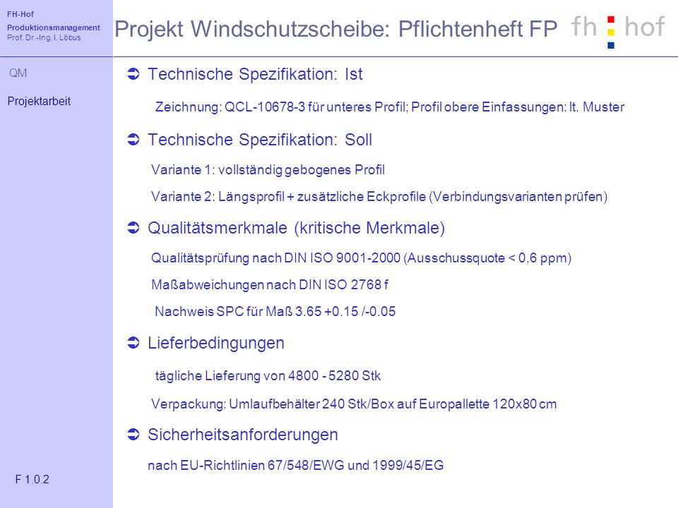 Projekt Windschutzscheibe: Pflichtenheft FP