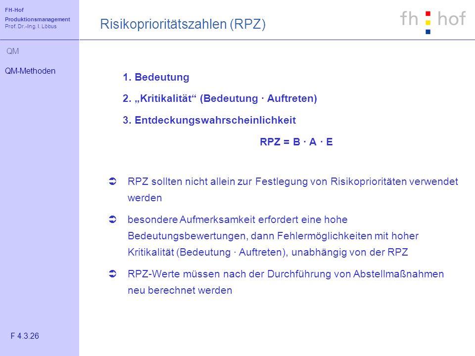 Risikoprioritätszahlen (RPZ)