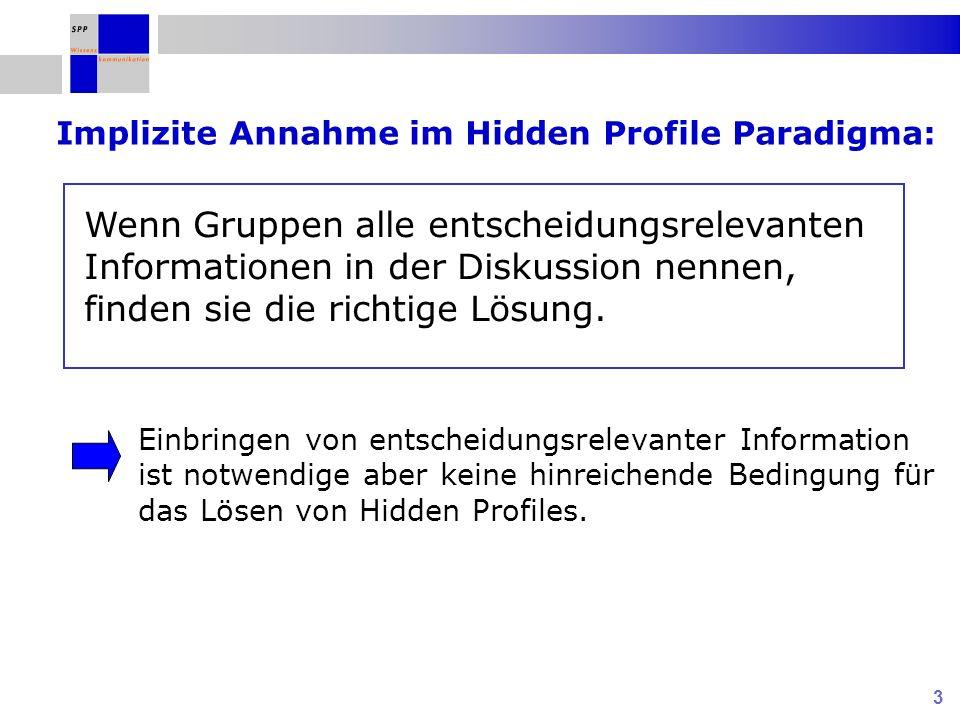Implizite Annahme im Hidden Profile Paradigma: