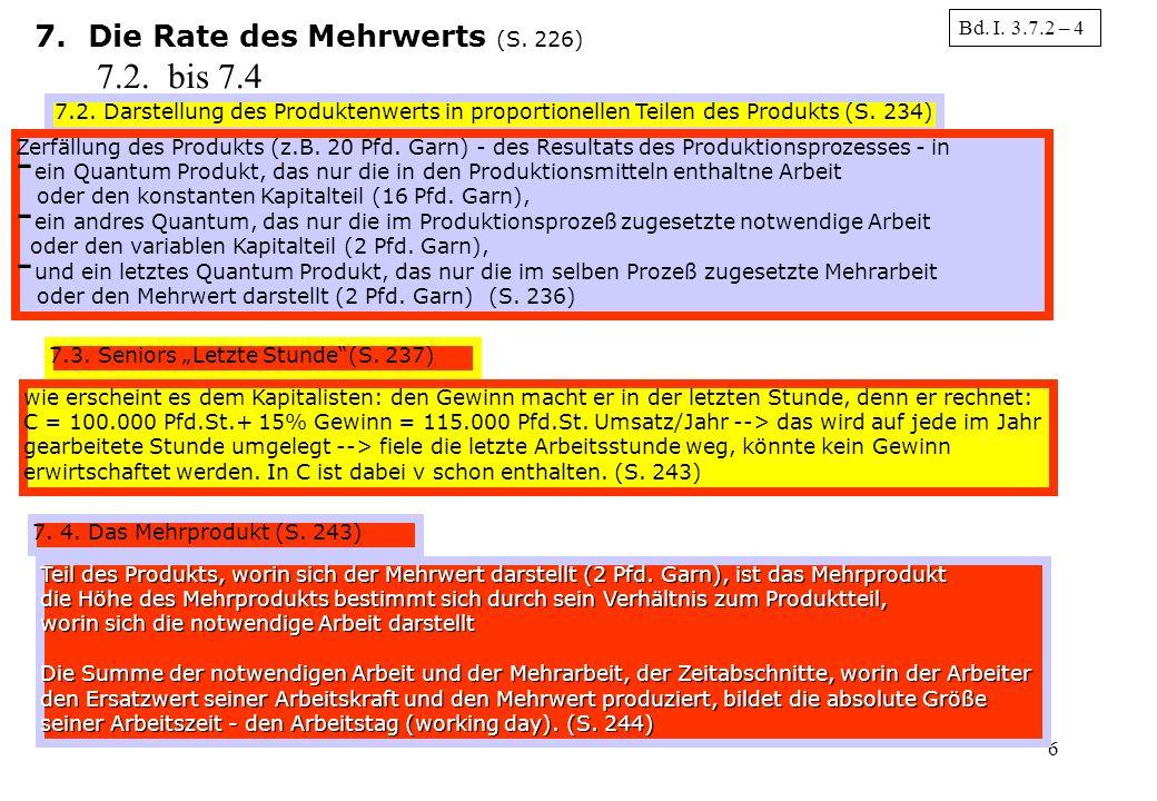 7.2. bis 7.4 Die Rate des Mehrwerts (S. 226) Bd. I. 3.7.2 – 4