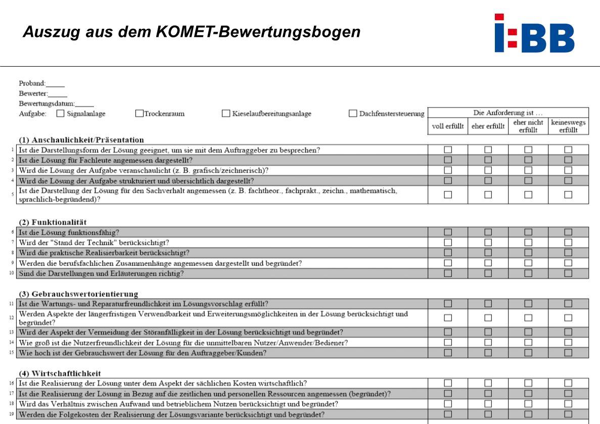 Auszug aus dem KOMET-Bewertungsbogen