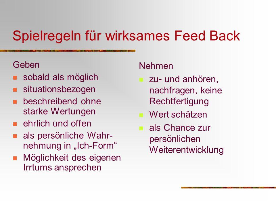 Spielregeln für wirksames Feed Back