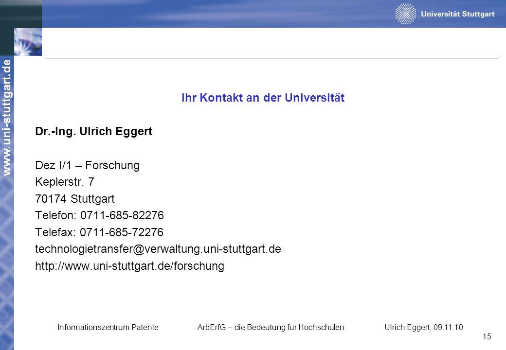Ihr Kontakt an der Universität