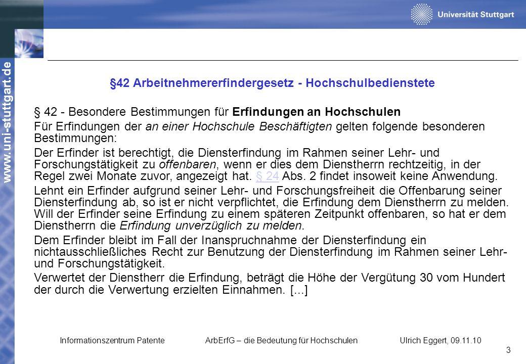 §42 Arbeitnehmererfindergesetz - Hochschulbedienstete