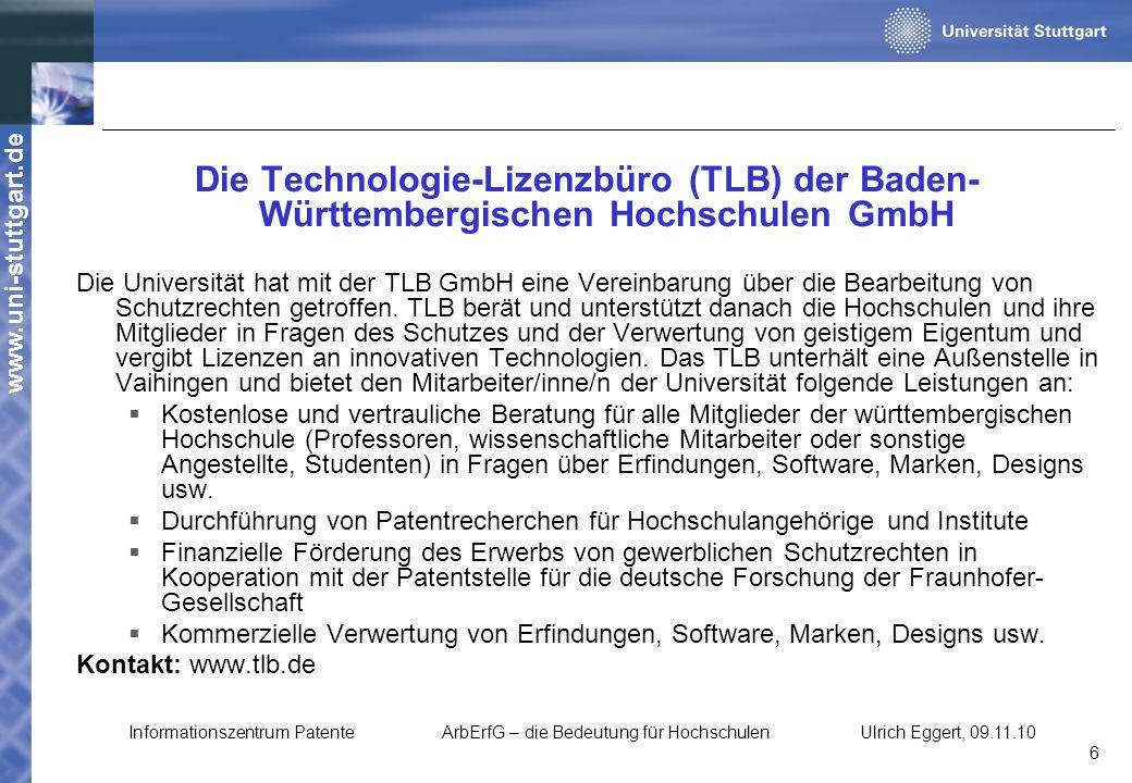 Die Technologie-Lizenzbüro (TLB) der Baden-Württembergischen Hochschulen GmbH