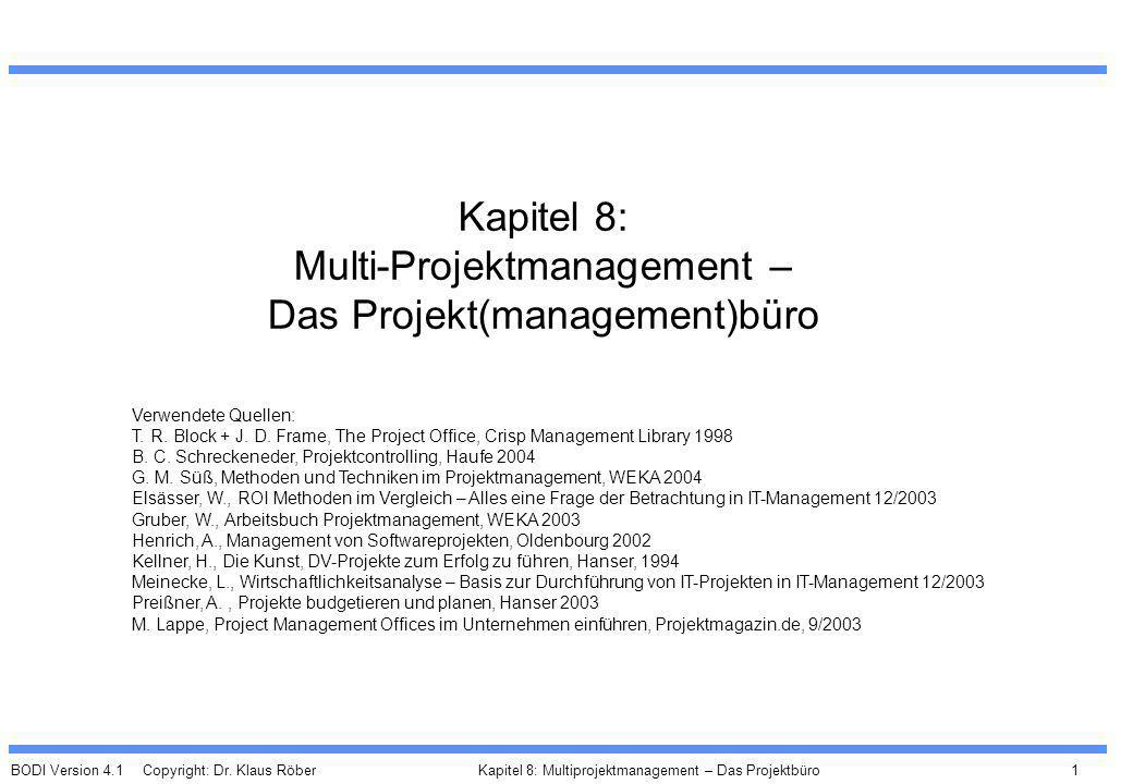 Kapitel 8: Multi-Projektmanagement – Das Projekt(management)büro