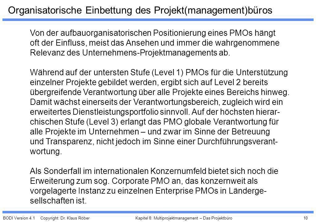 Organisatorische Einbettung des Projekt(management)büros