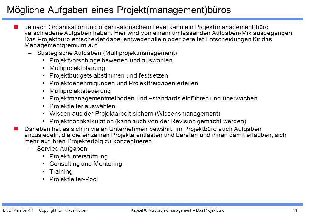 Mögliche Aufgaben eines Projekt(management)büros