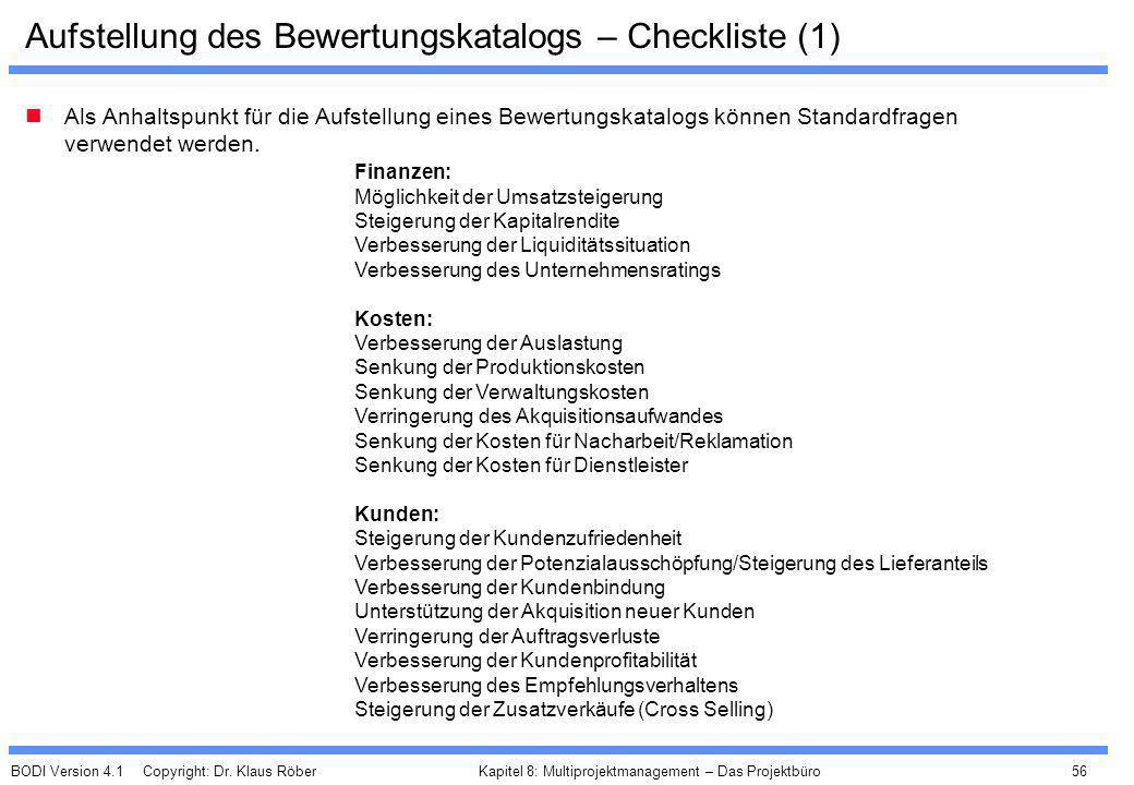 Aufstellung des Bewertungskatalogs – Checkliste (1)