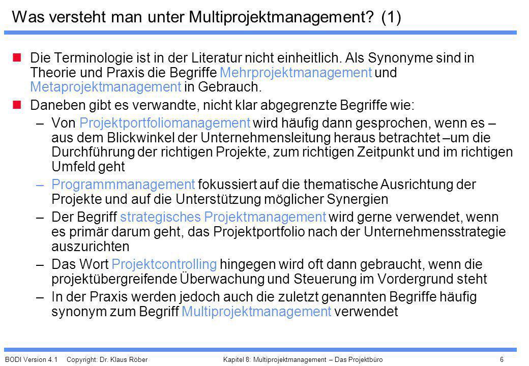 Was versteht man unter Multiprojektmanagement (1)