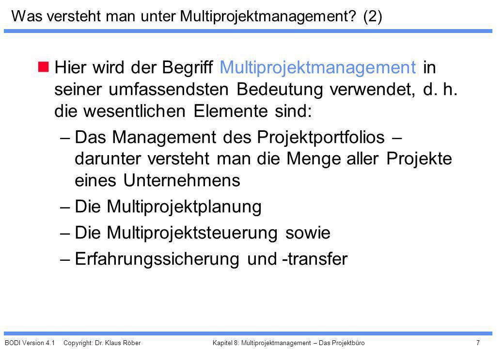 Was versteht man unter Multiprojektmanagement (2)