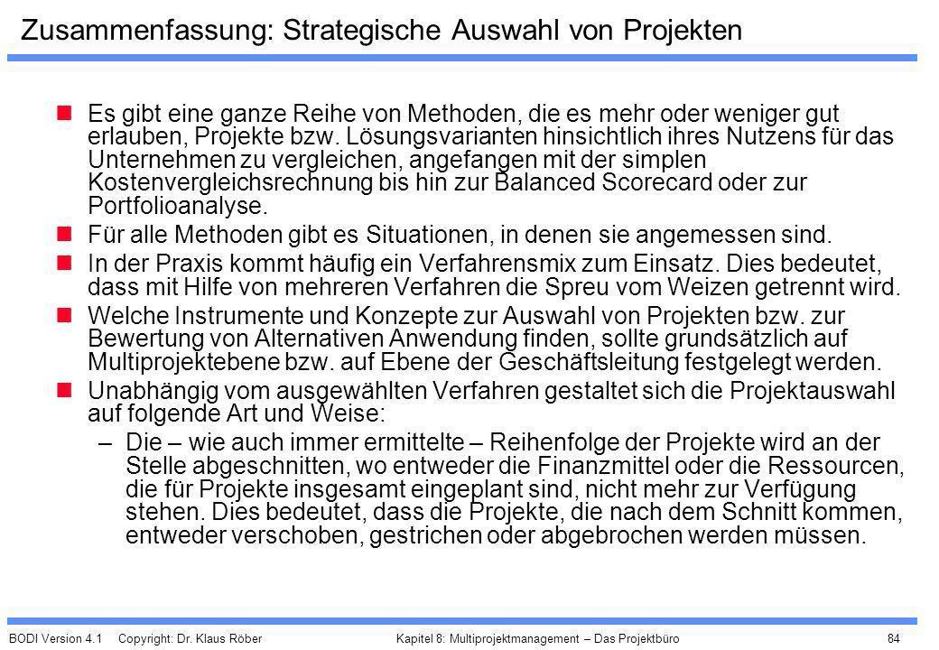 Zusammenfassung: Strategische Auswahl von Projekten