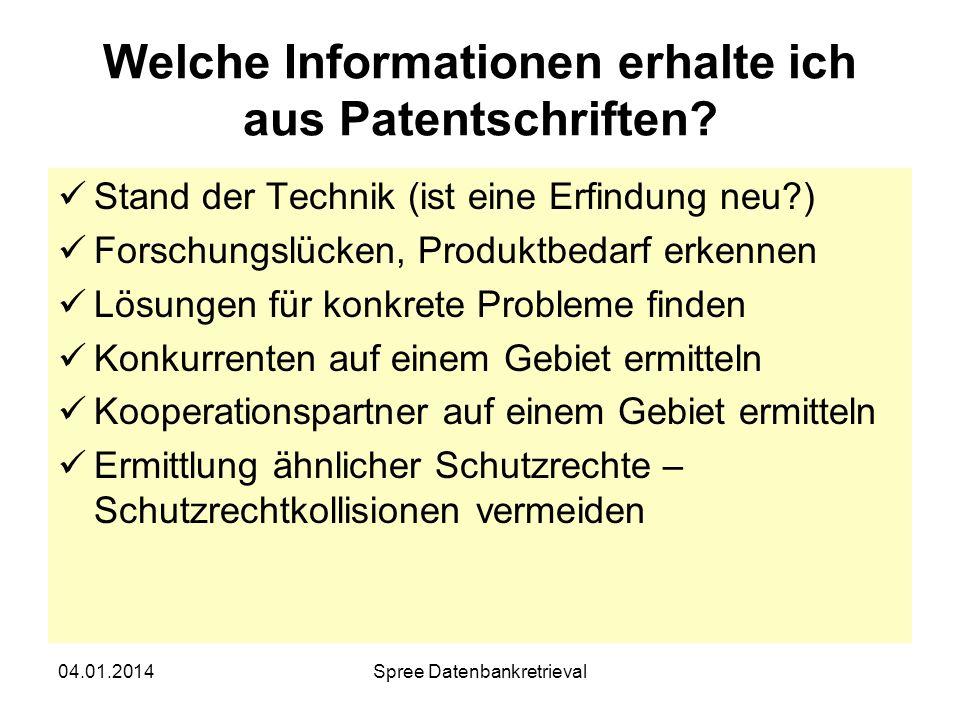 Welche Informationen erhalte ich aus Patentschriften