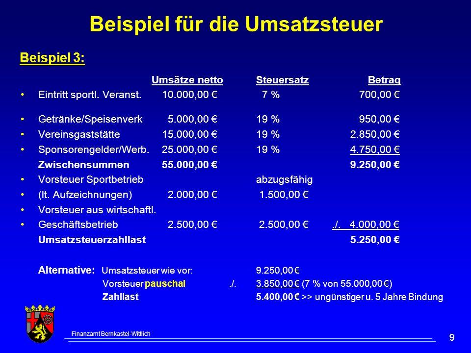 Beispiel für die Umsatzsteuer