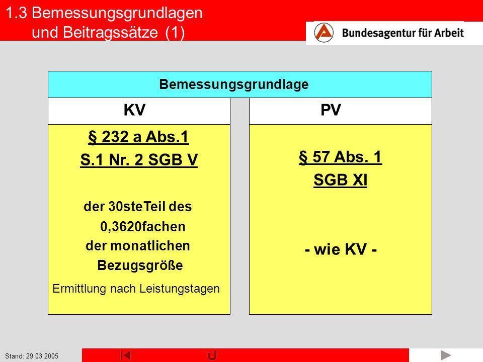 § 232 a Abs.1 S.1 Nr. 2 SGB V § 57 Abs. 1 SGB XI - wie KV -