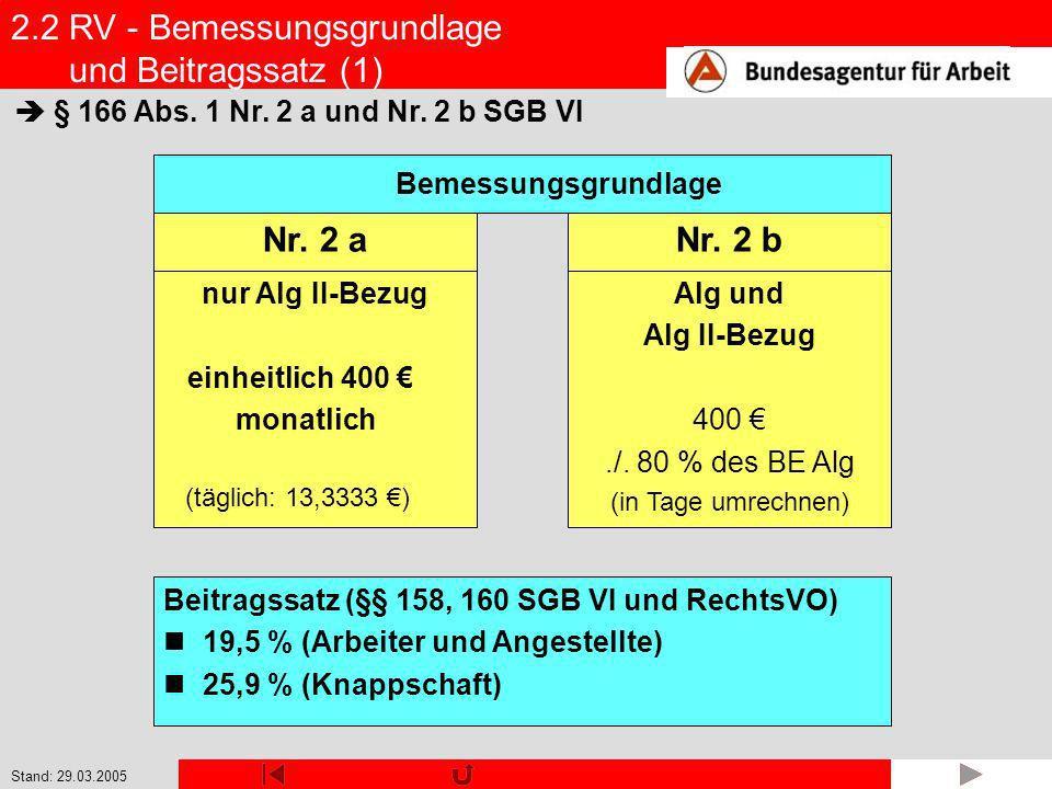 2.2 RV - Bemessungsgrundlage und Beitragssatz (1)