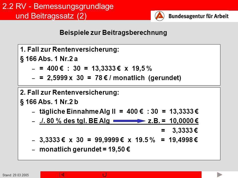 2.2 RV - Bemessungsgrundlage und Beitragssatz (2)
