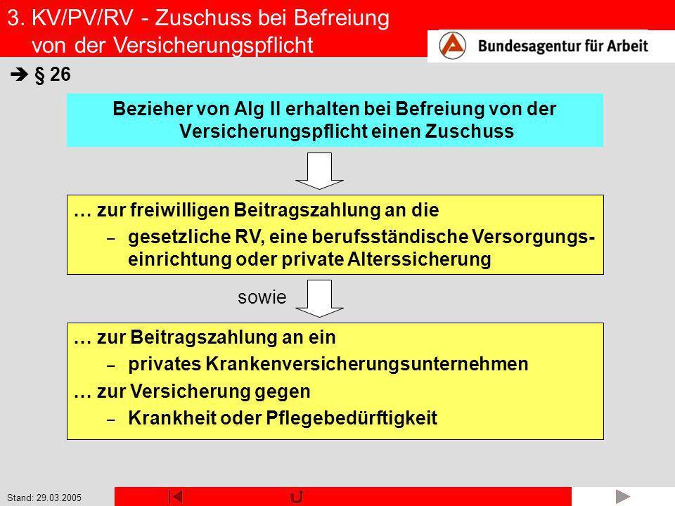 3. KV/PV/RV - Zuschuss bei Befreiung von der Versicherungspflicht