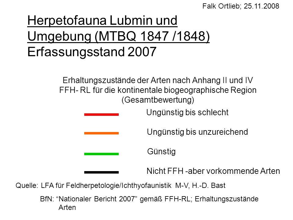 Falk Ortlieb; 25.11.2008Herpetofauna Lubmin und Umgebung (MTBQ 1847 /1848) Erfassungsstand 2007.