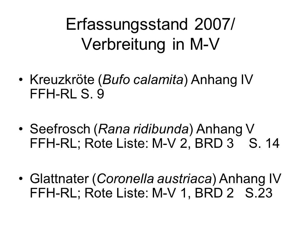Erfassungsstand 2007/ Verbreitung in M-V