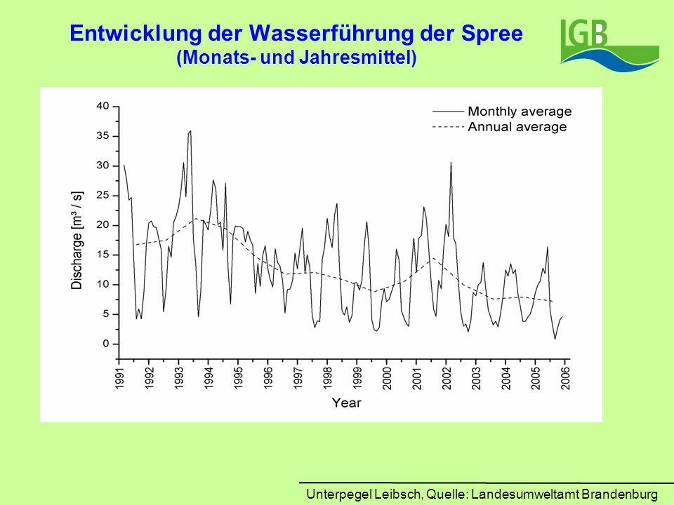 Entwicklung der Wasserführung der Spree (Monats- und Jahresmittel)