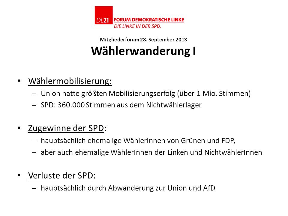 Mitgliederforum 28. September 2013 Wählerwanderung I