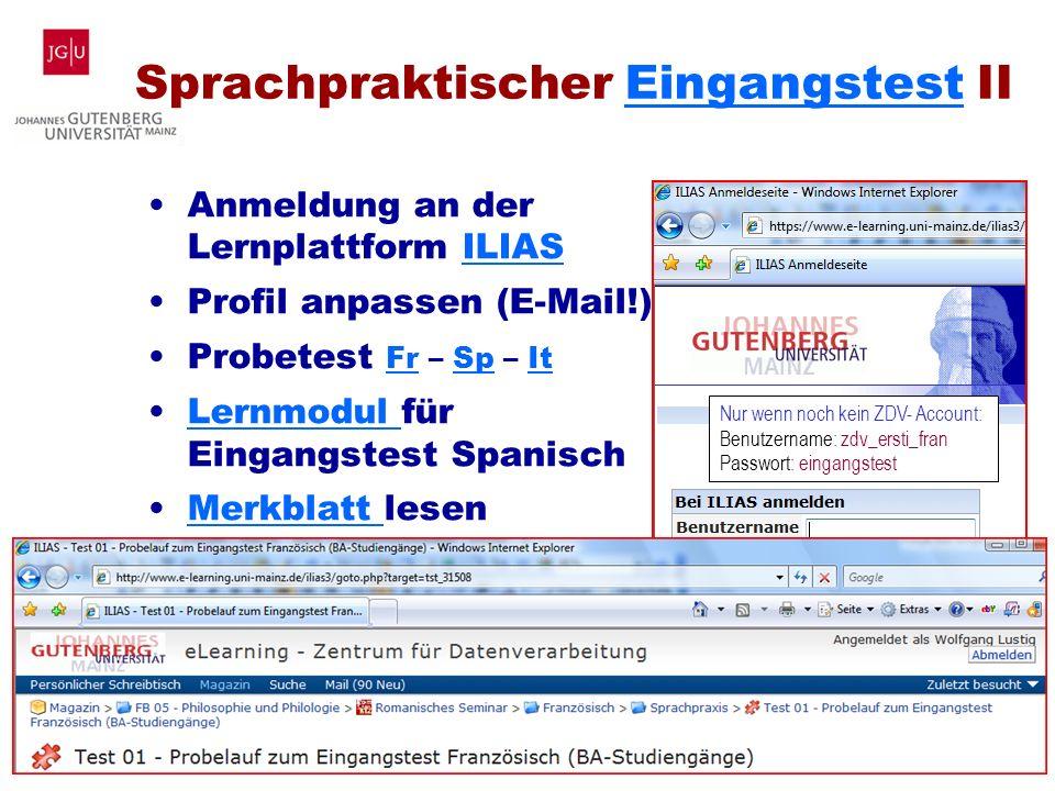Sprachpraktischer Eingangstest II