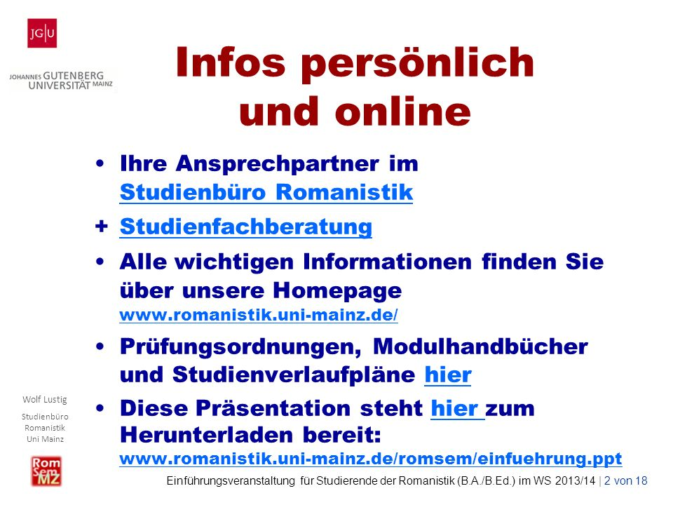 Infos persönlich und online