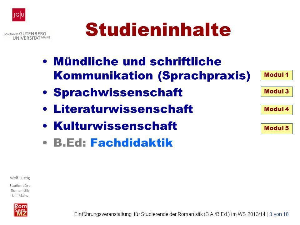Studieninhalte Mündliche und schriftliche Kommunikation (Sprachpraxis)