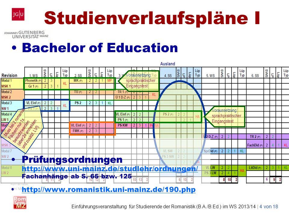 Studienverlaufspläne I