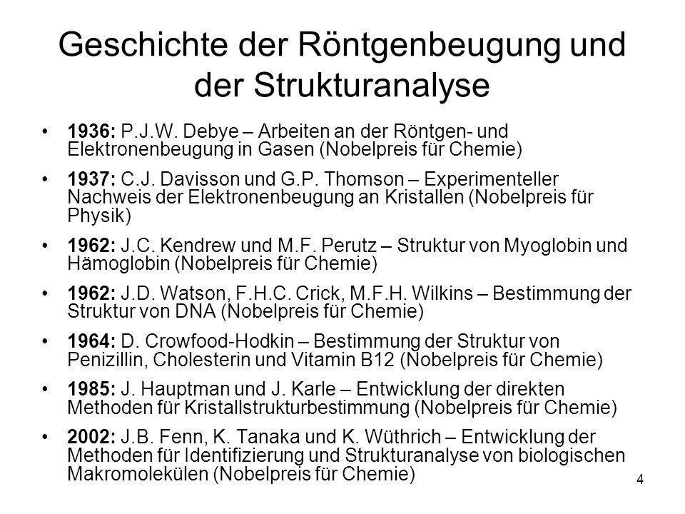 Geschichte der Röntgenbeugung und der Strukturanalyse