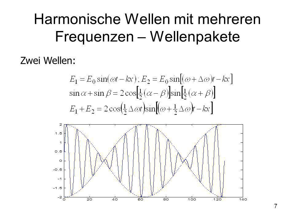 Harmonische Wellen mit mehreren Frequenzen – Wellenpakete